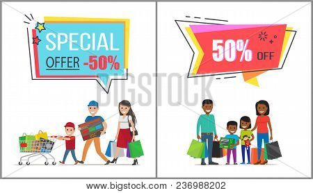 Special Offer With 50 Off For Family Shopping. Parents With Children Holds Huge Bags With Purchases
