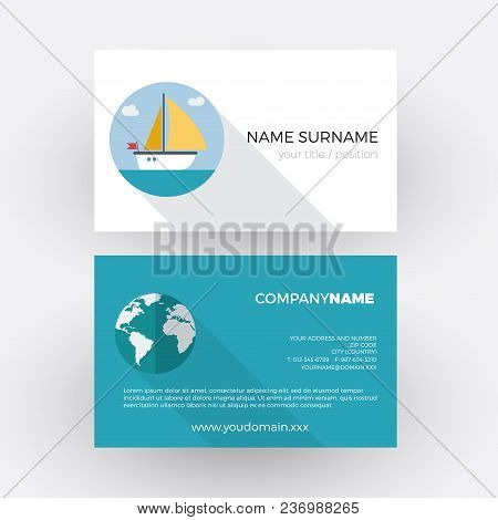 Sailboat And Skipper. Vector Professional Business Card
