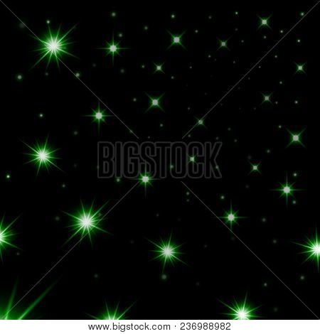Green Stars Black Night Sky Background. Abstract Bokeh Glowing Space Design. Starry Milky Way. Galax