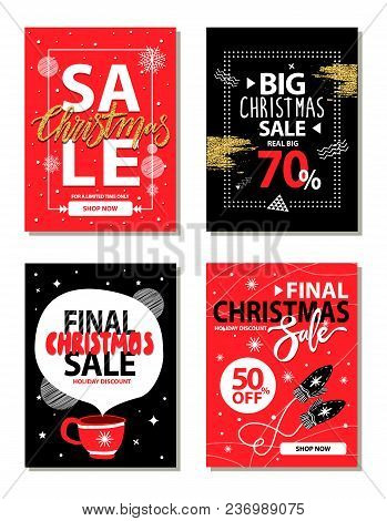 Really Big Christmas Sale, Shop Now For Limited Time Only, Banners With Headlines, Brushes And Icon