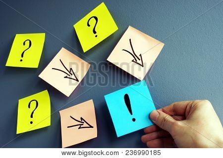 Solving Of Problem. Answer Concept. Question Marks And Arrows To Exclamation Mark.