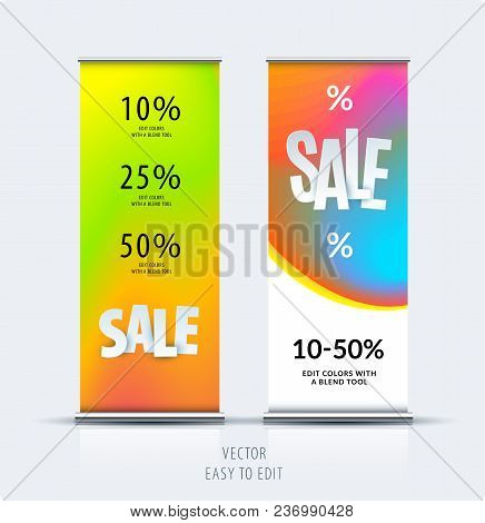 Sale Banner. Abstract Business Vector Set Of Modern Roll Up Banner Stand Design With Colourful Backg