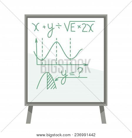 Board With Mathematical Formulas And Graphics Written With Felt Pen. Visualization Of Equation Resul