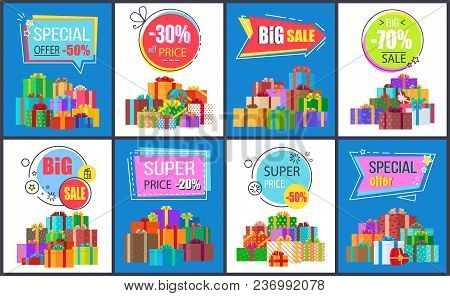 Special Offer -50 And Big Sale, Collection Of Banners Depicting Icons Of Presents With Ribbons And H