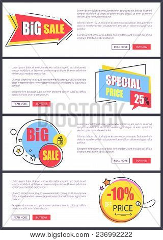 Big Sale And -10 Off Price, Web Pages With Yellow And Blue Stickers With Stars, Text And Buttons Say