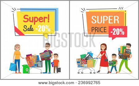Super Sale With Nice Price Promo Posters. Happy Families Spend Time Together On Shopping And Carry F