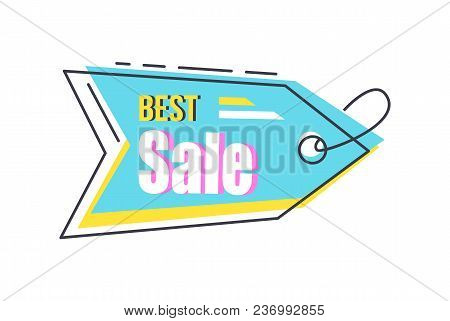 Best Sale Arrow Shape Hanging Sticker With Lace Or Thread, Discounts Pointer In Blue Colors Vector I