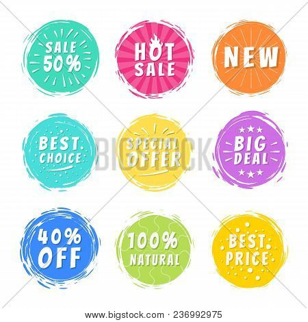 Sale 50 Best Hot Choice Special Big Deal 40 Off, Absolutly Natural Offer Promo Stickers Round Labels