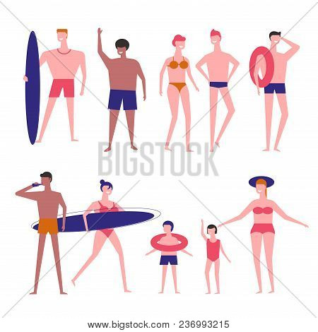 People At Beach Vector Flat Isolated Icons Of Man With Surfboard Or Woman In Swimsuit With Children