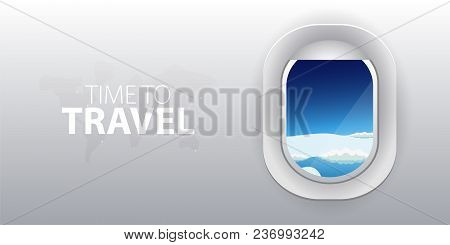 View From Airplane. Flight Window With Clouds. Flat Web Vector Banner