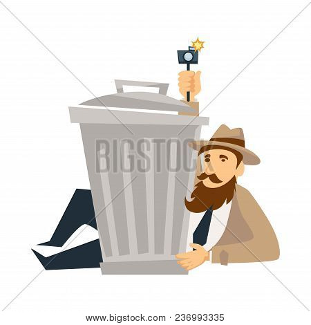 Detective Man On Investigation. Vector Cartoon Secret Agent Man Character In Detective Coat, Hat And