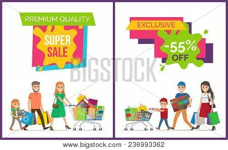 Premium Quality Super Sale Clearance On Colorful Signs With Smiling People And Shopping Bags. Vector