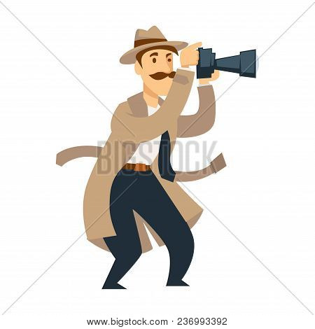 Male Private Detective With Professional Camera Conducts Investigation. Man With Thick Mustache In H