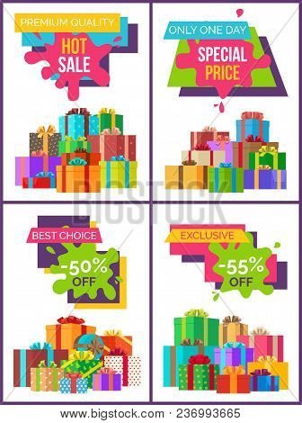 Premium Quality Hot Sale Set Of Four Posters With Discount Clearance And Festive Gift Boxes. Vector
