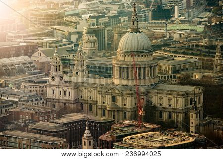 aerial view of the famous St. Paulâ??s Cathedral in London, Great Britain