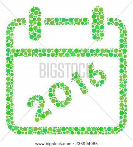 2016 Calendar Composition Icon Of Spheric Blots In Variable Sizes And Fresh Green Color Tones. Vecto
