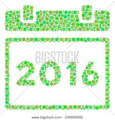 2016 Calendar Mosaic Icon Of Spheric Blots In Various Sizes And Eco Green Color Tints. Vector Points