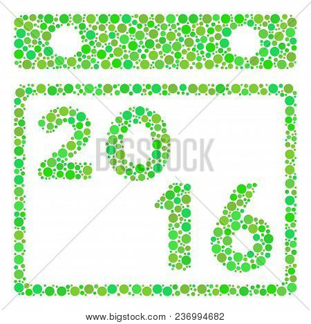 2016 Calendar Mosaic Icon Of Circle Elements In Different Sizes And Eco Green Shades. Vector Filled