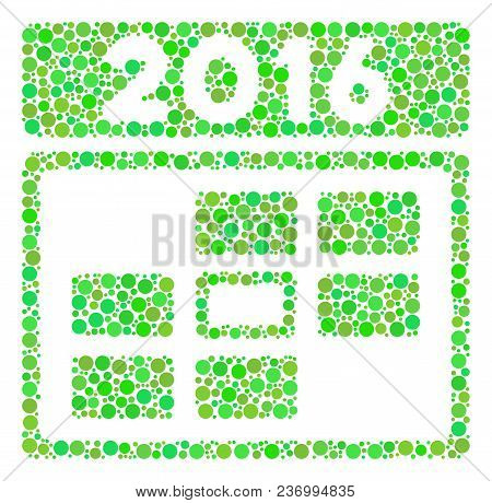 2016 Date Composition Icon Of Circle Elements In Various Sizes And Ecological Green Color Hues. Vect