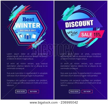 Best Winter Sale, Discount -25 Off, Set Of Web Sites With Designed Emblems, Strokes And Text Below T