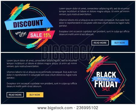 New Offer And Black Friday Sale, Web Pages Collection Made Up Of Colorful Labels, Buttons And Text S