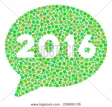 2016 Message Mosaic Icon Of Circle Elements In Variable Sizes And Fresh Green Shades. Vector Circle