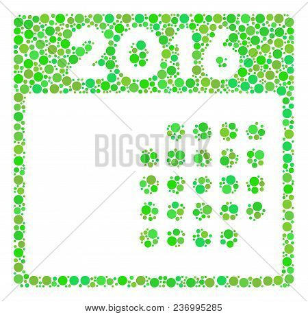 2016 Month Calendar Collage Icon Of Dots In Various Sizes And Ecological Green Color Tones. Vector R