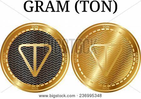 Set Of Physical Golden Coin Gram (ton), Digital Cryptocurrency. Gram (ton) Icon Set. Vector Illustra