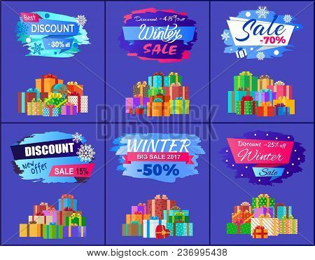 Best Discount Winter Sale Posters Set Promo Labels With Percent Off Signs, Decorated By Snowflakes A