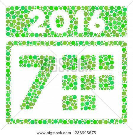 2016 Week Calendar Collage Icon Of Circle Spots In Different Sizes And Eco Green Color Tinges. Vecto