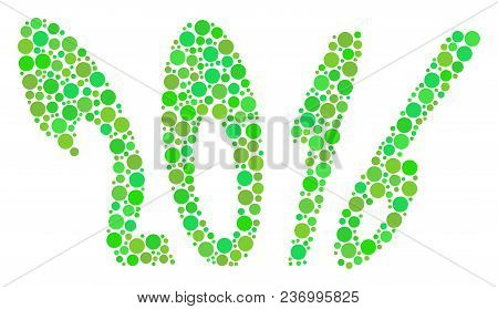 2016 Year Composition Icon Of Dots In Variable Sizes And Ecological Green Color Tinges. Vector Dots
