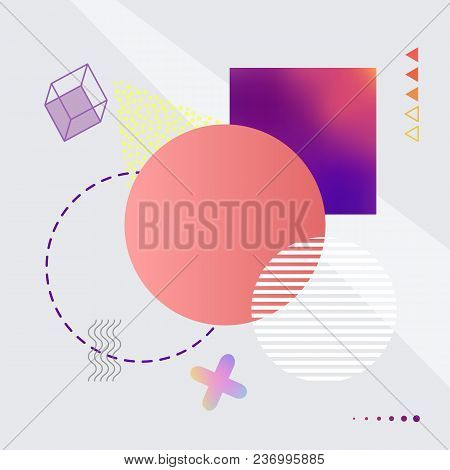 Abstract Image With Geometric Shapes Of Circles, Squares And Lines, Arrows And Cross, Icons On Vecto