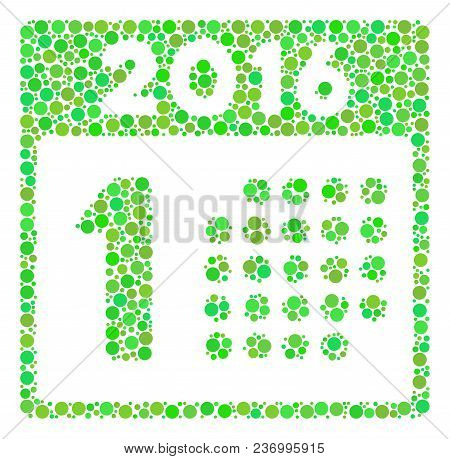 First 2016 Day Collage Icon Of Dots In Variable Sizes And Green Color Tinges. Vector Round Elements