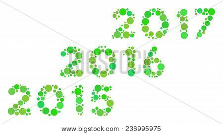 From 2016 To 2017 Years Composition Icon Of Filled Circles In Various Sizes And Green Color Tints. V