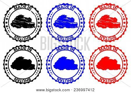Made In Bhutan - Rubber Stamp - Vector, Bhutan Map Pattern - Black, Blue And Red