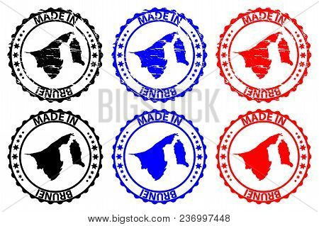 Made In Brunei - Rubber Stamp - Vector, Brunei Map Pattern - Black, Blue And Red
