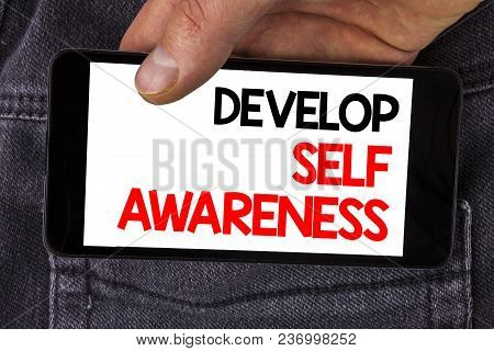 Writing Note Showing  Develop Self Awareness. Business Photo Showcasing Improve Your Informations Ab
