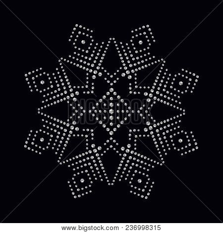 Rhinestone Applique Print For Textile Clothes In Fashion Luxury Design. Trendy Vector Crystal Studs