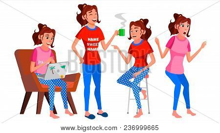 Freelancer Worker Vector. Woman. Happy Clerk, Servant, Employee. Business Woman Person. Working At Home. Lady Face Emotions, Various Gestures. Flat Character Illustration poster