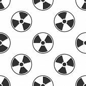 Radioactive icon seamless pattern on white background. Radioactive toxic symbol. Radiation Hazard sign. Flat design. Vector Illustration poster