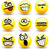Cool cartoon yellow smiles, emoticons in vector poster