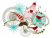 Christmas flourish,birdcage,cardinal birds,flowers and snowflakes poster