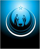 Icon depicting the nativity scene in blue poster