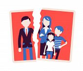 Family breakup problem. Photo with rift between people, serious quarrel, spouse disagreement, end with divorce, split, loss of good relationship and love. Vector illustration with faceless characters poster