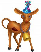a digitally rendered animal with party hat and bell poster