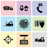 Set Of 9 simple editable icons such as Delivery transportation machine, Container hanging of a crane, Delivery time, Identification for delivery with bars, International delivery, Logistics poster