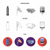 Purification, water, filter, filtration .Water filtration system set collection icons in flat, outline, monochrome style vector symbol stock illustration . poster
