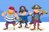 Cartoon Illustration of Funny Pirates or Corsairs Fantasy Characters poster