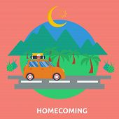 Homecoming | Great flat illustration concept icon and use for ramadan, eid mubarak, islam, holiday and much more poster