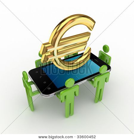 3d small people,mobile phone and euro sign.